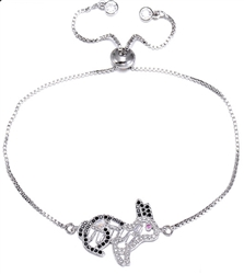 Black and White Crystal Bunny Chain Bracelet