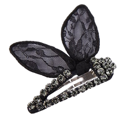 Black Bunny Ears Lace and Crystal Barrette