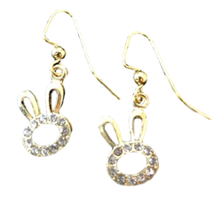 Gold Dangle Bunny Earrings