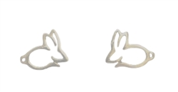 .925 Sterling Silver Bunny Silhouette Stud Earrings