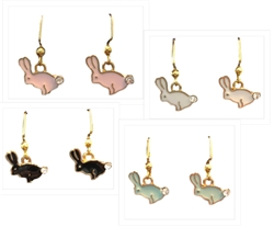 Enamel Bunny Dangle Earrings