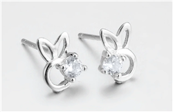 .925 Sterling Silver and Crystal Bunny Stud Earrings