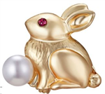 Gold Bunny with Pearl Pin