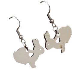 I Love Bunnies Cutout Dangle Earrings
