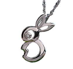 .925 Sterling Silver Rabbit Necklace