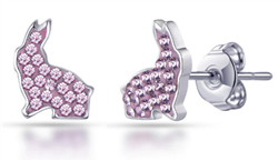 Pink Crystal Bunny Stud Earrings