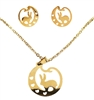 Stainless Steel Rabbit Necklace and Earring Set