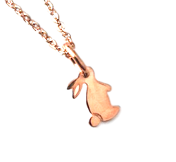.925 Sterling Silver Rose Color Rabbit Pendant Necklace