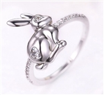 Silver and CZ Heart Rabbit Ring