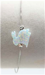 .925 Sterling Silver & Lab Created Opal Bunny Bracelet