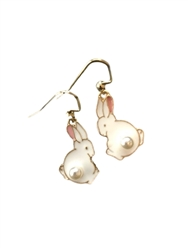 Bunnies with Pearl Tails Dangle Earrings