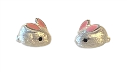 .925 Sterling Silver Tiny Bunny Stud Earrings