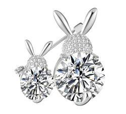 Mom & Daughter Bunnies Crystal Brooch/Pin