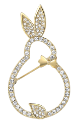 Crystal and Gold Rabbit Pin/Brooch