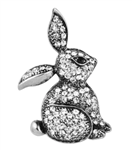 Silver and Crystal Rabbit Pin/Brooch