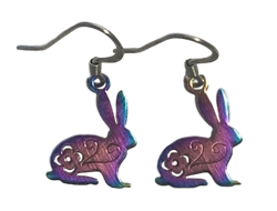 Rainbow Rabbit Dangle Earrings
