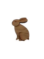 Laser Etched Wood Bunny Pin/Brooch