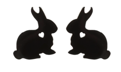 Stainless Steel Bunny Cutout Heart Stud Earrings