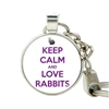 Bunny Button Keychains - Keep Calm/Love Rabbits