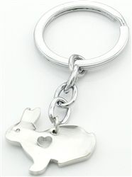 Bunny with Cutout Heart Keychain