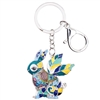 Colorful Enamel Bunny Keychain