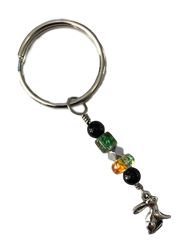 Silver Bunny and Beads Keychain