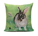 Linen Bunny Throw Pillow Case
