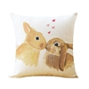 Linen Kissing Bunnies Throw Pillow