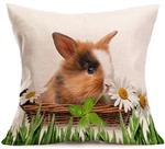 Linen Daisy Bunny Throw Pillow