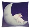 All Things Bunnies Linen Sleeping Bunny Throw Pillow