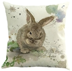 Linen Bunny Rabbit Throw Pillow Case