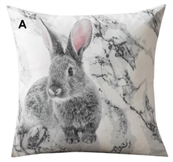 Grey and White Bunny Throw Pillow