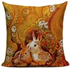 Linen Paisley Bunny Throw Pillow