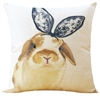 Linen Holland Lop Bunny Throw Pillow