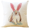Linen English Lop Bunny Throw Pillow