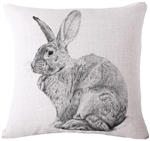 Linen Flemish Giant Bunny Throw Pillow