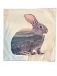 Linen Mountain Scene Bunny Throw Pillow