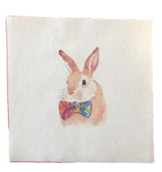 All Things Bunnies Bowtie Bunny Quilting Square