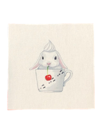All Things Bunnies Latte Bunny Quilting Square