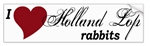 I Love Holland Lop Rabbits Bumper Sticker