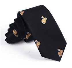 Mens Black Jacquard Rabbit Pattern Tie