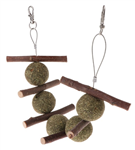 Hanging Apple Wood/Hay Balls Treat