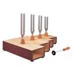 Set of Tuning Forks, C-Major Chord, on Resonance Boxes - U10125