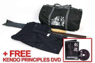 Navy Blue Keikogi/Tetron Hakama Set with Shinai, Bokuto, Shinai Bag, and Budo Bag