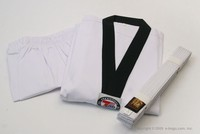 Ribbed Taekwondo Uniform Set with Black Collar