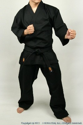 Master Quality Lightweight Black Karate Uniform Set (BLACK)