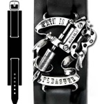 Pain Is Pleasure - Leather Wrist Strap