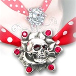 Skull Rose ribbon choker