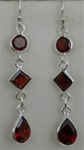 triple layer faceted gemstone earrings