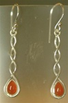 sterling plait drop gemstone earrings